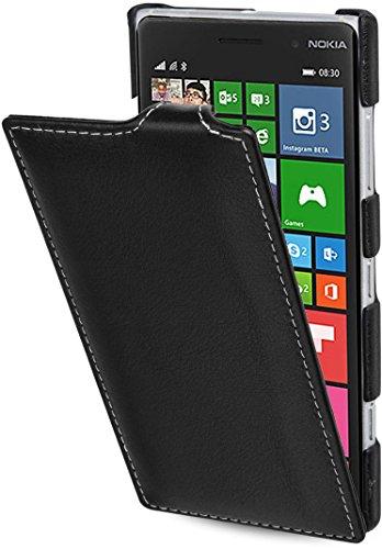 StilGut UltraSlim Hülle, Hülle aus Leder kompatibel mit Nokia Lumia 830, schwarz Nappa