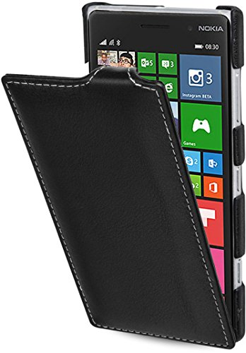 StilGut UltraSlim Case, Custodia in Pelle per Nokia Lumia 830, Nero Nappa