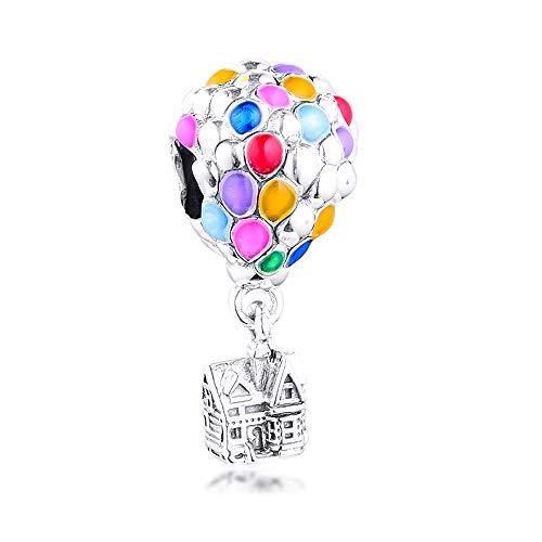 PANDOCCI Abalorio de plata de ley 925 con diseño de casa y globos de verano de 2020, compatible con pulseras Pandora originales