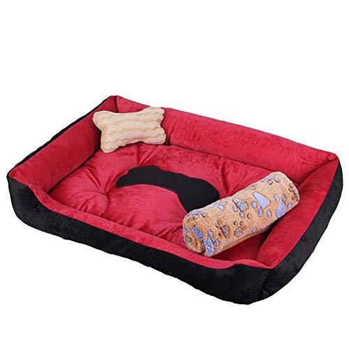 Cama para Perro, Sofá para Perro con Base Antideslizante Peluche de Cama Cómoda para Mascotas, Lavable, Resistente al Desgaste y Duradero Rojo Negro + Manta XXL