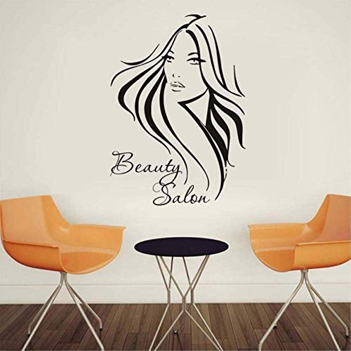 Removable Vinyl Wall Stickers Barber Shop Long Hair Woman Wall Decals Beauty Salon Art Decals Home Decor 41X57Cm
