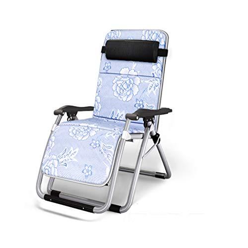 KHL Tapis de Soie légèrement glacé Chaise Pliante rembourrée Ultra-Large Loisir Lit Retour Dos Canapé Paresseux Chaise de Balcon Grande Chaise de Loisirs Chaise de