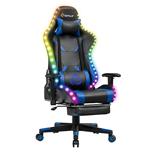 Goplus Massage Gaming Chair with Light, Reclining Backrest Handrails and...
