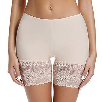 Slip Shorts for Under Dresses Women Seamless Boyshort Panties Anti Chafing Thigh Bands Underwear  Beige XL
