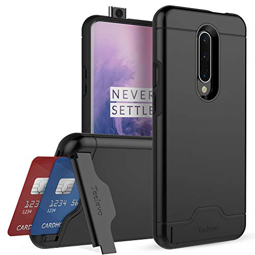 Teelevo Wallet Case for OnePlus 7 Pro, Dual Layer Case with Card Slot Holder and Kickstand for OnePlus 7 Pro - Black