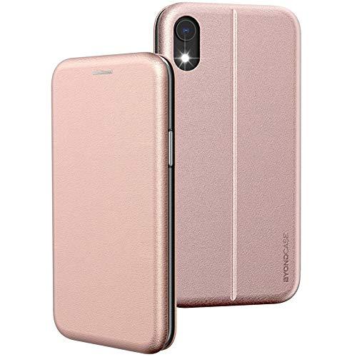 BYONDCASE iPhone XR Hülle Rosa, iPhone XR Handyhülle [Deluxe Leder Flip-Hülle Klapphülle] Fullbody 360 Grad R&umschutz Ultra Slim kompatibel mit dem iPhone XR Hülle