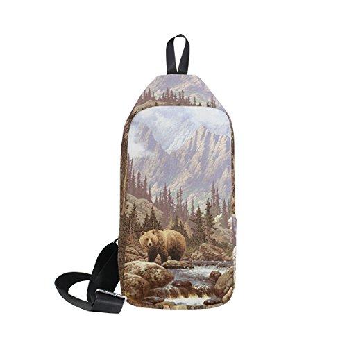 DragonSwordlinsu Coosun Grizzly Bear in the Rockies Sling Sac à bandoulière Coffre Cross Body Sac à dos léger décontracté Sac à dos pour homme femme