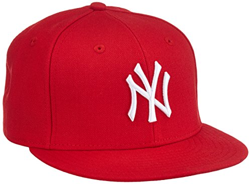 New Era MLB Basic NY Yankees 59 Fifty Fitted, Gorro para Hombre, Multicolor (Scarlet/White), 7 1/4 inch