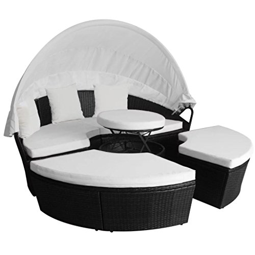 Festnight Outdoor Lounge Bed with Retractable Canopy and Stool Poly Rattan Cushioned Seating Separates Patio Sofa Daybed for Garden, Backyard, Poolside, Balcony Furniture (Black)