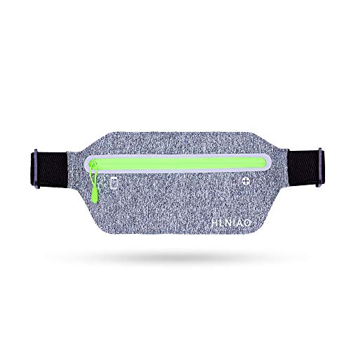 HLNIAO Running Belt Slim Fanny Pack for Men and Women, Unisex Waist Bag for Workout Hiking Jogging fit for iPhone X XR 7 8 Plus, Water-Resistance Phone Holder with Adjustable Elastic Straps, Gray