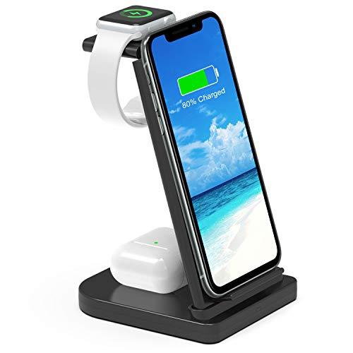 ワイヤレス充電器 3in1急速充電器 充電スタンド ワイヤレスチャージャー 5W/7.5W/10W/15W出力 QI認証済み iPhone/Airpods/Apple Watch その他Qi対応機種適用 ブラック