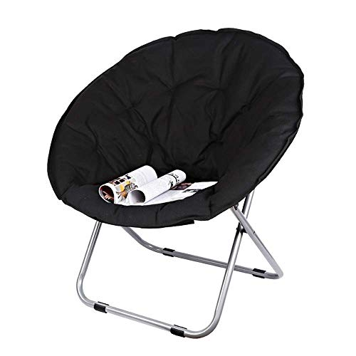 YLCJ Chairs - Adult Loungers Lazy Radar Lounge Folding Round Sofa Fabric Thick Upright Cotton Steel Saucer Camping Folding Round Chair Padded Seat Heavy Duty Steel Frame