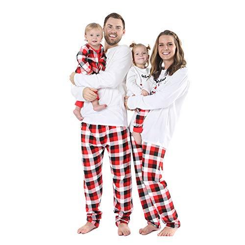 BOBORA Christmas Pyjamas Family Cotton Sleepwear Set Merry Christmas Santa Prints Top with Checkered Striped Bottoms Pjs Set for Daddy Mommy and Me (2PCs)
