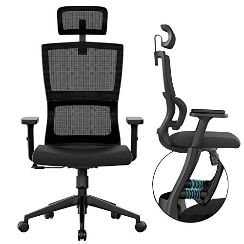 Ergonomic Office Chair with Upgraded Lumbar Support and Adjustable Armrest Headrest, Desk Chair with Mesh High Back, Home Office Desk Chair, Computer Chair, Rolling Chair