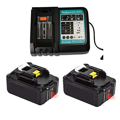 Ersatz Schnell-Ladegerät mit 2X Akku 18V 4.0Ah(LCD) für Makita Bohrhammer DHR171Z, Handkreissäge DHS680Z DHS680Y1J,Gebläse DUB183Z, Rasentrimmer DUR181Z,Heckenschere DUH523Z batterie