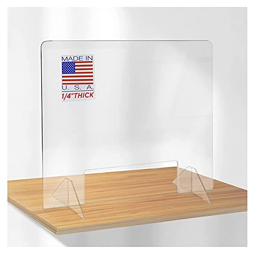 SPEEDYORDERS Protective Sneeze Guard, 1/4' thick 30'W x 24'H POS With Opening Clear Acrylic Plexiglass Shield For Counters, Transaction Window for Employers, Customers, Barrier Against Sneezing