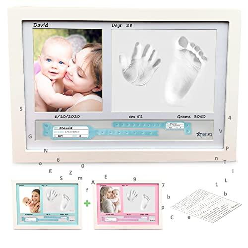 BELF1® Cornice Impronte Neonato Porta Bracciali di Nascita Portafoto Set Impronte Bimbi Kit Portafoto con Impronta Manina e Piedino del Bebè MODELLO 2020 (Stelline)