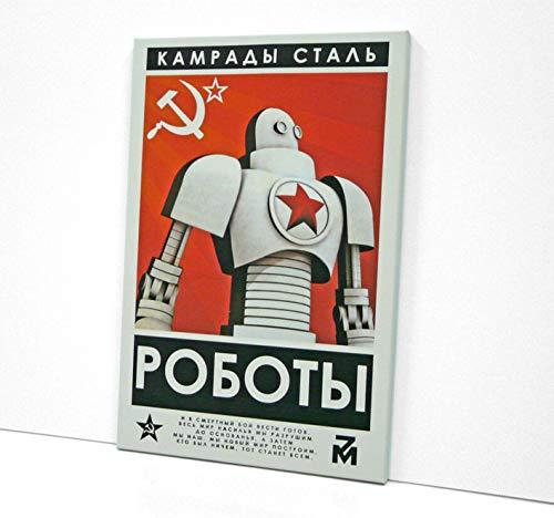BaikalGallery Lienzo Cartel SOVIETICO CAMARADAS del Acero (V2411) Impreso en Canvas de algodón de 320 gr. Tensado en Bastidor de Madera de Pino de 2cm de Grosor.Acabado Mate -Muy Ligero (50x75cm)