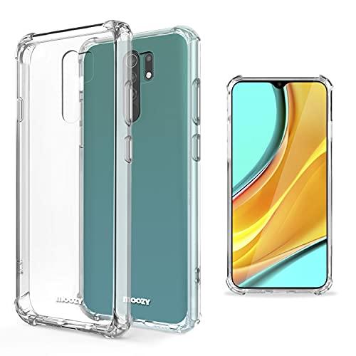 Moozy Funda Silicona Antigolpes para Xiaomi Redmi 9 - Transparente Crystal Clear TPU Case Cover Flexible