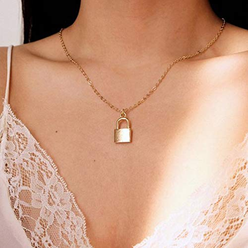 TseenYi Boho Lock Chain Necklace Gold Padlock Pendant Necklace Simple Necklace Chain Jewelry for Women and Girls (Gold)