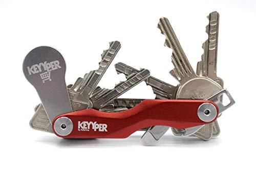 KEYYPER Smart Schlüsselhalter mit Einkaufswagenchip * Key Organizer * aus Alu rot und Edelstahl erweiterbar bis 12 Schlüssel mit Flaschenöffner und Öse für Autoschlüssel