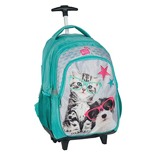 P A S O Kinder Trolley 45x29x24 cm - Studio Pets Collection - Hund & Katze - TÜRKIS