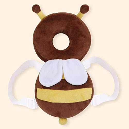 YIWOYI Almohada para cuna, almohada de bebé, protector de cabeza de bebé, suave, para niños, anticaída, cojín protector (marrón)