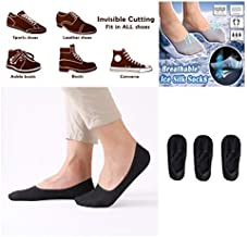 Iusun Breathable Ice Silk Socks Ultra Low Cut Liner No Show Non Slip Soft Cool Touch Extremely Stretchy Thin Hidden Invisible Sports Set of 3 Suitable for Men and Women (Black)
