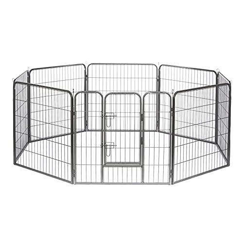 lionto by dibea Parc enclos métal extérieur pour chiots et rongeurs 80x60 cm 8 pièces