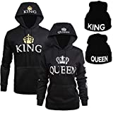 YJQ King Queen Matching Couple Hoodies and King Queen Beanie Crown Sweatshirts & Knit Hats