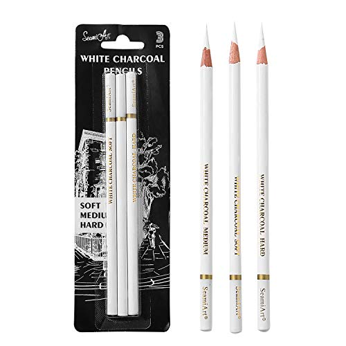 3 Pcs White Sketch Charcoal Pencils -Professional Hight Quality Sketch Highlight White Charcoal Wooden Pencils for Artist Drawing, Sketching, Blending