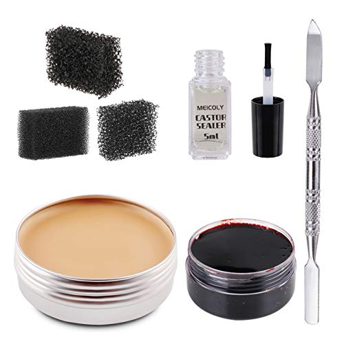 MEICOLY SFX Makeup Kit Scars Wax Halloween Special Effects Stage Fake Wound Modeling Skin Wax(1.67Oz) with Spatula, Black Stipple Sponge, Coagulated Blood Gel(1.06Oz),5ml Castor Sealer,02