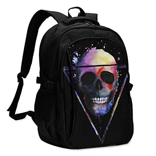 WSZOK Backpack Color skull Travel Laptop Backpack Stylish College Backpack With Usb Charging Port Repellent Rucksack Daypack For School/Business/Work Black