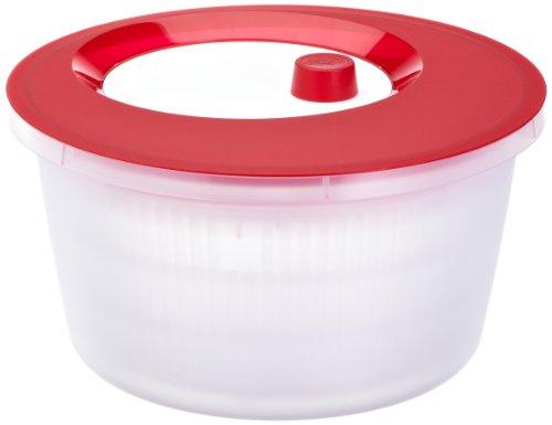 Emsa 505089 Salatschleuder mit Kurbel, 4 Liter, Rot/Transparent, Basic