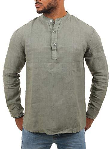 Young & Rich Herren Leinen Langarm Shirt mit Knopfleiste Henley Tunika Hemd Regular fit 100% Leinen H1652 / T3168, Grösse:M, Farbe:Oliv