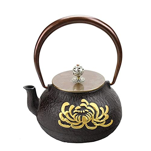 Infuser Teapot Ceramics 1.2L Cast Iron Teapot Kettle Copper Handle/Pot Lid, Uncoated Inner Wall Hibiscus Flower Pattern