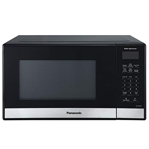 Panasonic Compact Microwave Oven, Easy Clean Interior, Popcorn Button, Child Safety Lock, and Auto Defrost, 0.9 Cu. Ft, 900W, NN-SB458S (Black)