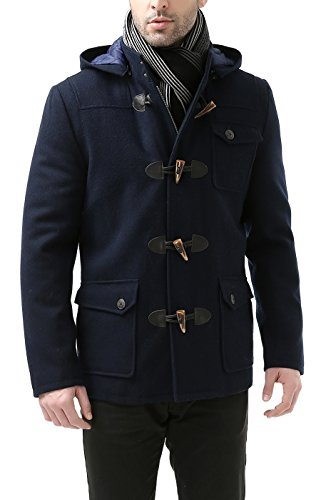 BGSD Men's Nathan Wool Blend Patch Pocket Short Toggle Coat Navy X-Large