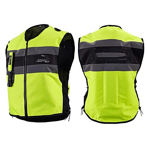 Motorradweste Mit Airbag Brust Und Rücken Vorne Mit Großem Reflexstreifen Nachts Zu Fahren Ist Sicherer Reitwesten Für Männer Und Frauen (Nicht Mit CO2-Kartusche Ausgestattet) Fahrradausrüstung