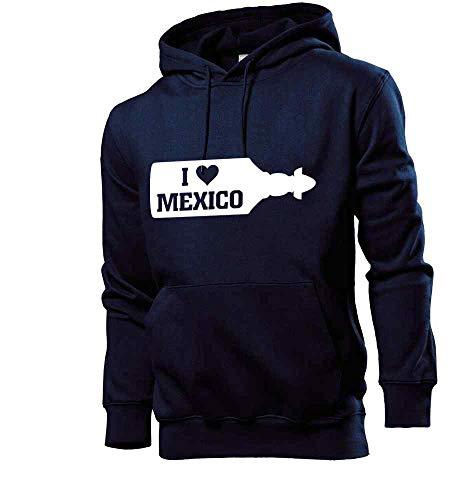 Generisch Sudadera con capucha para hombre con texto 'I Love Mexico Sierra Tequila' azul marino S