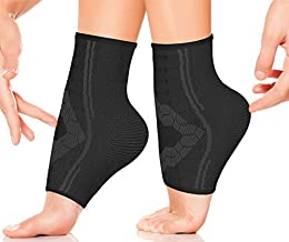 Ankle Compression Socks by SPARTHOS (Pair) – Plantar Fasciitis Ankle Brace with Arch Support – for Men and Women – Foot Sleeves – for Sports, Running, Basketball, Football and Everyday Wear (Black-L)