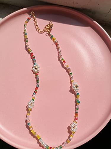 HALLTYG collarHUANZHI, Nueva Cadena de Metal Dulce de Corea, Collar de Perlas de Flores Irregulares con Cuentas Coloridas Transparentes para Mujer, joyería de Fiesta