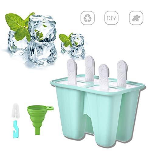 Silikon-Eislutscherformen 4 Eis am Stiel Formen Set Wiederverwendbare Eisform Ice Pop Maker Eislutscherform für Kinder BPA frei Mit Reinigungsbürste und Falttrichter Grün