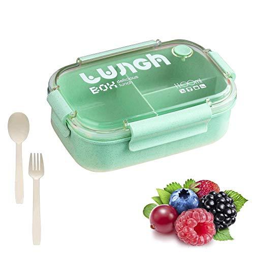 TaimeiMao Bento Box,Lunchbox Picknick,Lunchbox Kinder,Brotbox Kinder,Lunchbox mit Fächern,Brotdose Kinder,Lunchbox Box für Kinder,Auslaufsichere Brotzeitbox Vesperdose Mikrowelle Heizung (Grün)