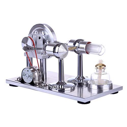 TETAKE Stirlingmotor Bausatz Sterling Motoren Stirlingmotor LED Stirling Engine Stirlingmotor mit Generator Kit für Technikinteressierte Bastler