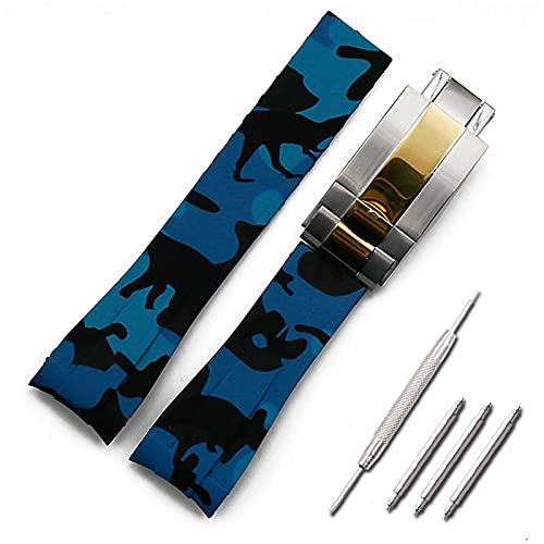 LGFCOK Correa de Goma Menores de Camuflaje para Hombre Accesorios para Rolex A Prueba de Agua de Silicona Femenina 20mm (Band Color : Style C3, Band Width : 20mm)