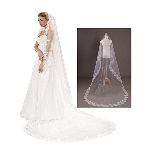Bluesees - Velo de boda, 1,5 m, elegante, elegante, con borde de cinta, para novia, largo, encaje, velo de boda, romántico, para novias, novias, despedidas de soltera, novedad, accesorios de disfraces