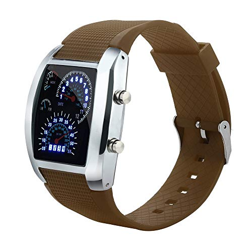 Relojes de Pulsera Relojes Deporte electrónica Digital del Reloj de los Hombres de luz LED del Reloj del velocímetro Turbo Sports Car Dial Medidor Reloj Durable (Color : Brown Silver Watch)