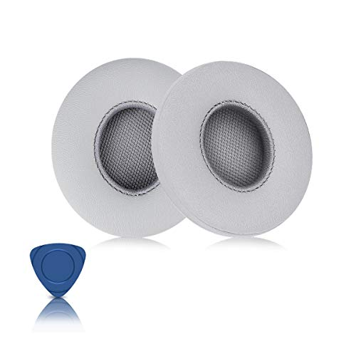 ELZO Ersatz Ohrpolster für Beats Solo 2, Solo 2 Und Solo 3 Kopfhörer, Premium Kunstleder Kopfhörer Ohrpolster Ersatz Kit für Beats Headphones, Silber