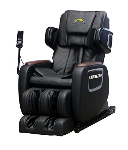 Find Bargain NFL Electric Full Body Shiatsu Massage Chair Foot Roller Zero Gravity Wheat (Los Angeles Chargers)
